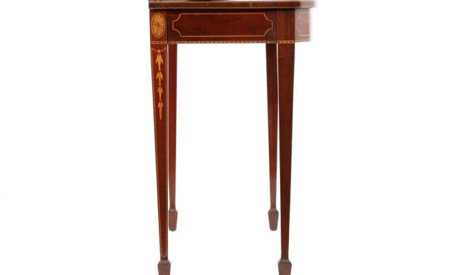 American Federal Style Inlaid Mahogany Card Table Century