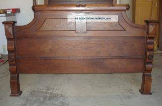 Antique Victorian Style Bed Walnut Burl Wood Three Quarter