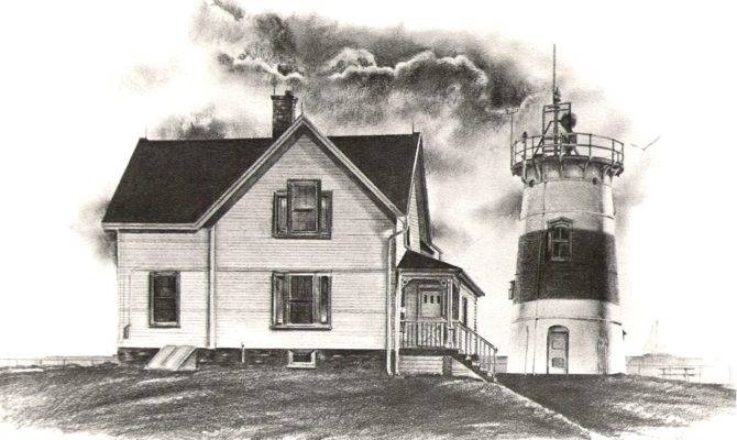 Beach House Drawing Lighthouse Charcoal