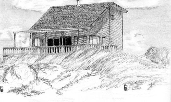 Beach House Pencil Drawing Padre Island