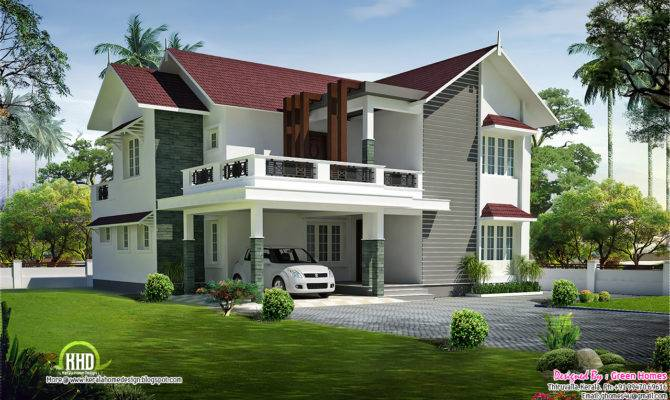 Beautiful Sloping Roof Villa Kerala Home Design Floor Plans