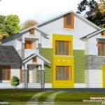 Bhk Sloping Roof House Design Kerala Home Floor Plans