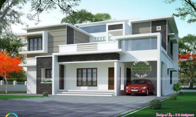 Box Type Flat Roof Home Arch Kerala Design Floor Plans