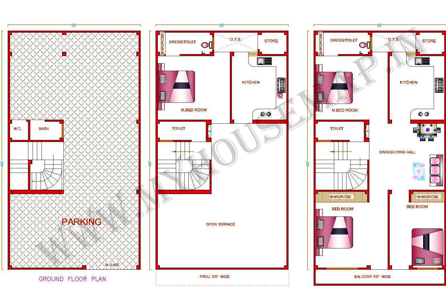 Building House Map Elevation Exterior Design Home