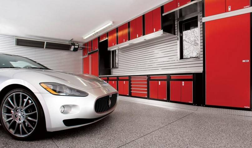 Garage Designs Interior Ideas black flooring unit color idea applied on garage workbench design equipped with white interior design ideas Detached Garage Layout Ideas Best Designhome Building Plans