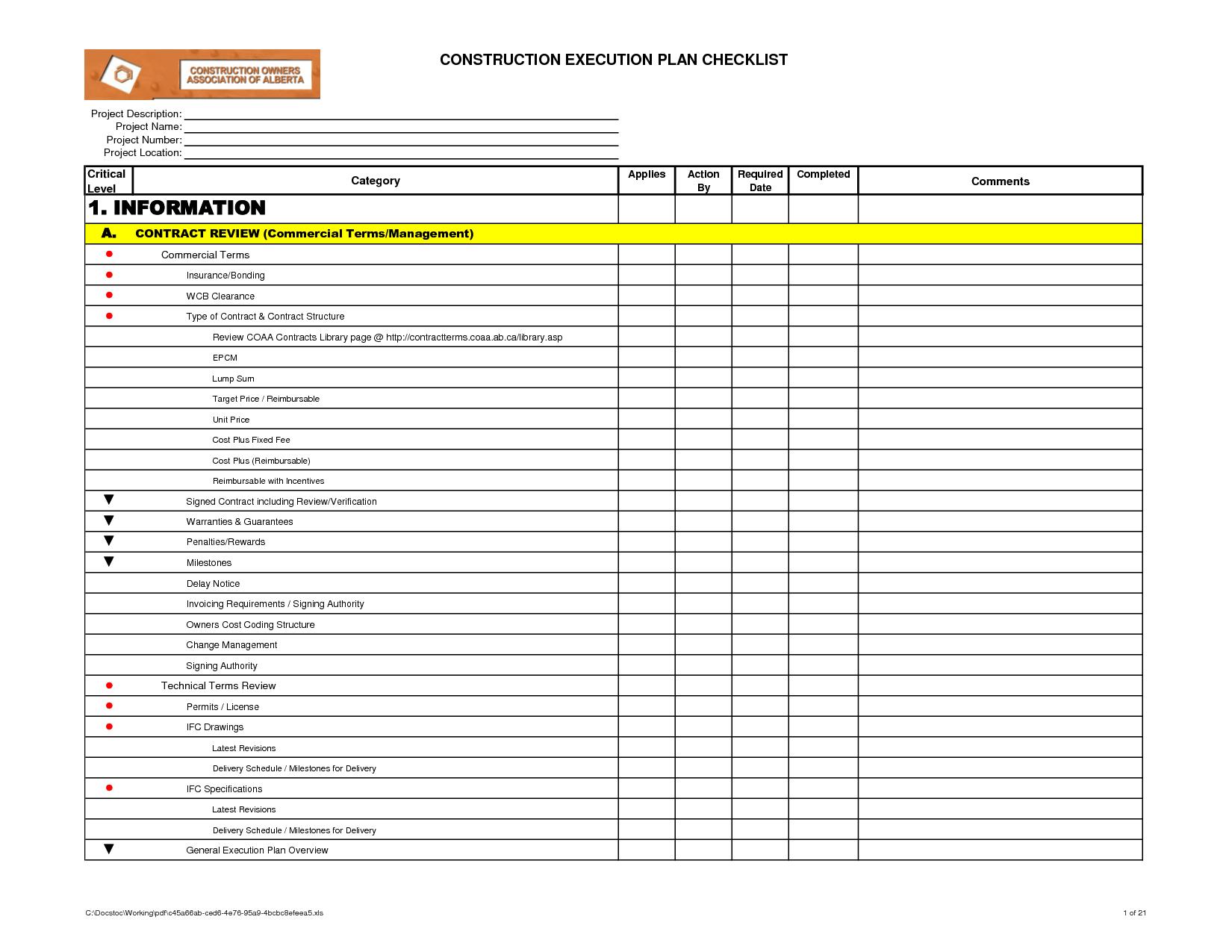 Preventive Maintenance Checklist Log – Maintenance Checklist Template
