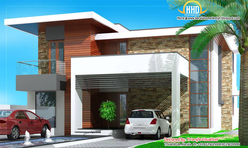 Contemporary home designs floor plan elevation modern Best contemporary house design