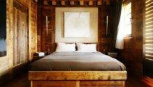Country Home Designs Wood Low Profile Bed Abstract Painting Headboard