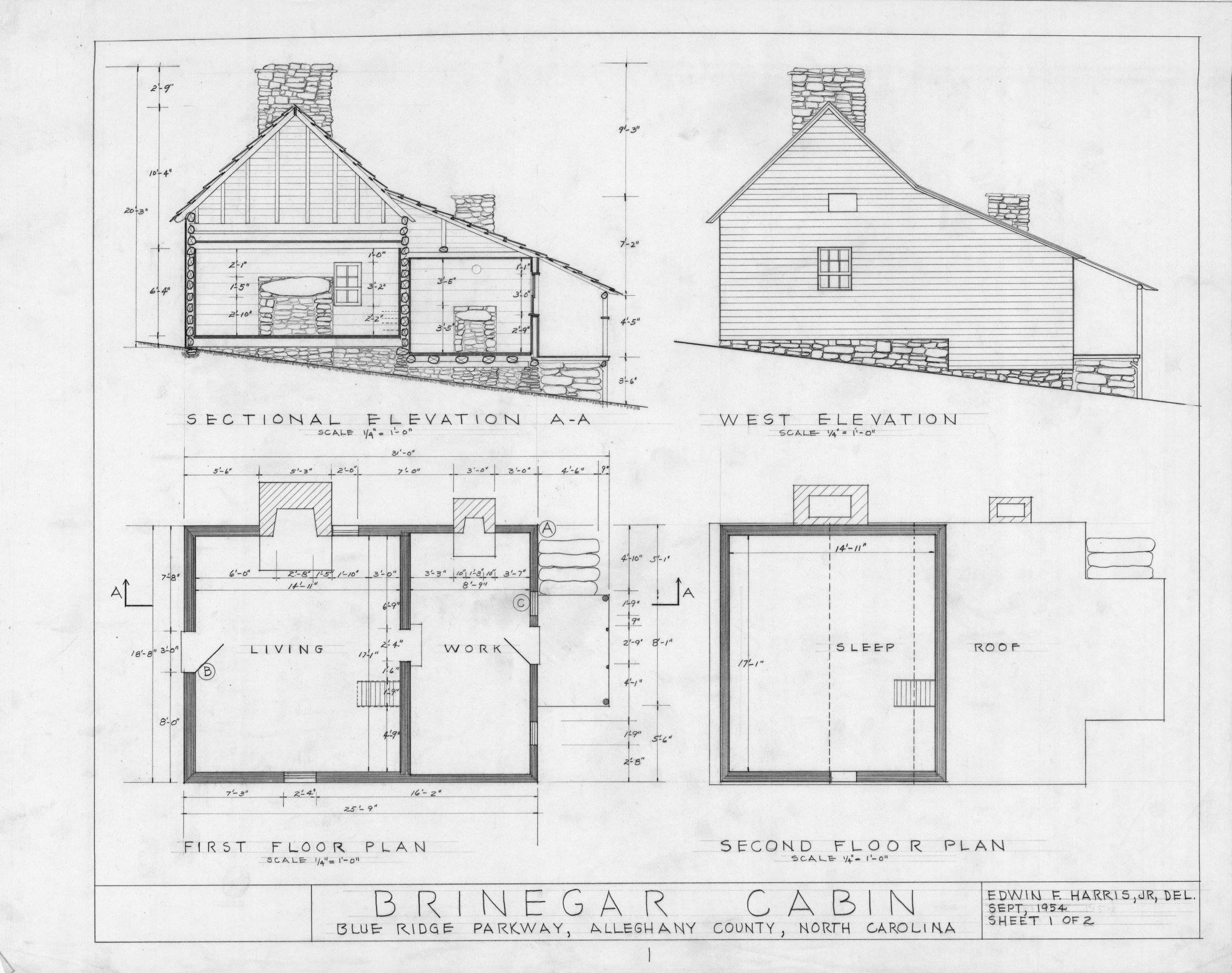 Elevation and plan of house