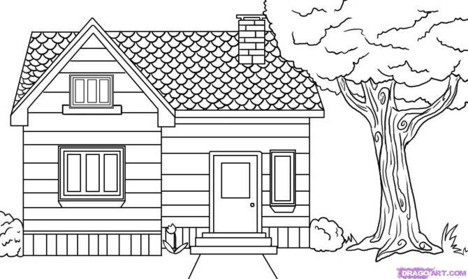 Draw House Step Buildings Landmarks Places