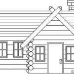 Draw Log Cabin House Step Buildings Landmarks