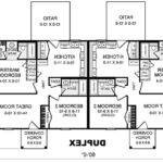 Duplex House Plans Nice Black White Attractive Story