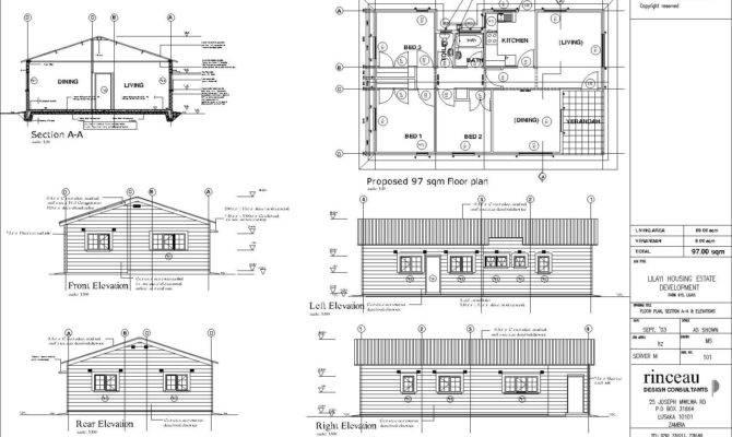 Elevation Plan House Floor Front Duplex
