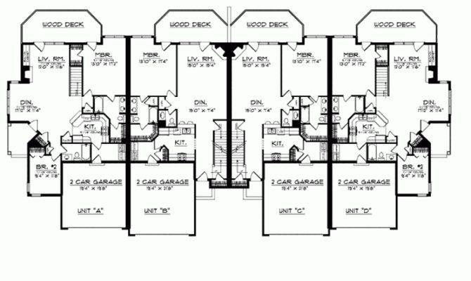 Eplans Prairie House Plan Quadplex Deck Access Square