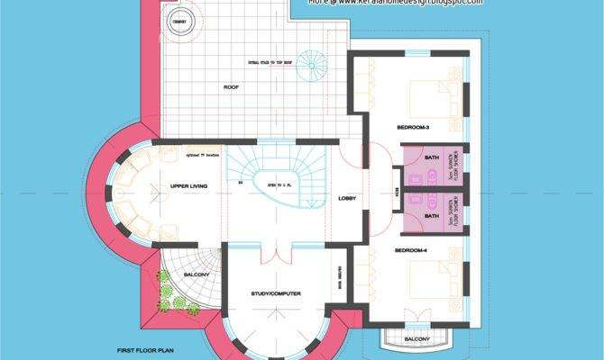 Feet Semi Circular Shaped Villa Kerala Home Design Floor Plans