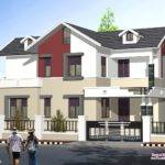 Feet Sloping Roof Style Home Kerala Design Floor