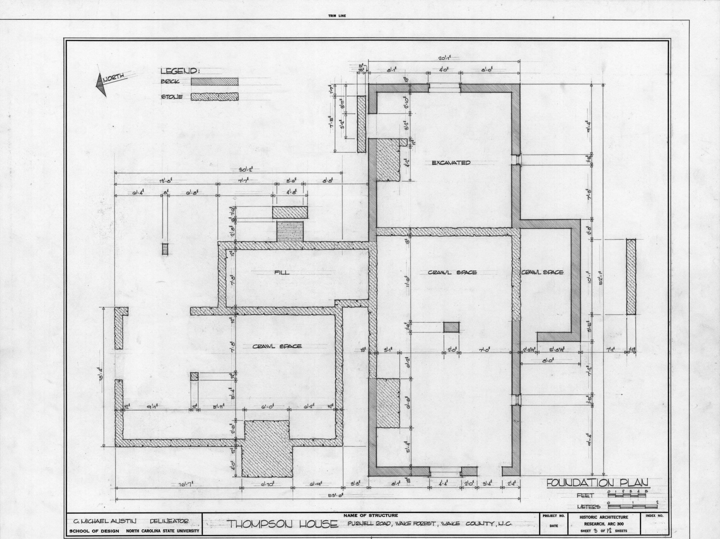 Foundation plans house building blue print
