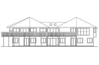 Hexagonal House Plan Ravendale Rear Elevation