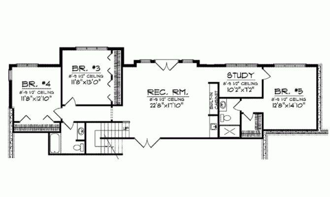 House Plan Five Bedroom Ranch Square Feet Bedrooms