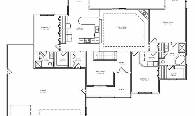 House Plan Single Level Great Room Ranch Basement