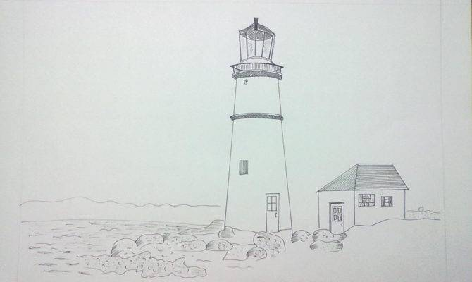 Journey Drawing Light House Near Dream Ink Pen