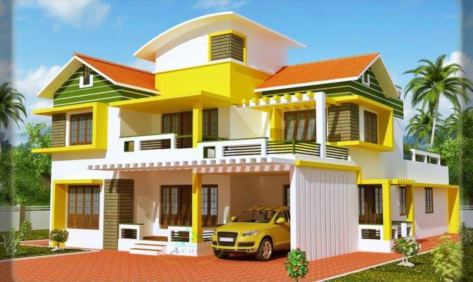 Kerala House Model Duplex Elevation