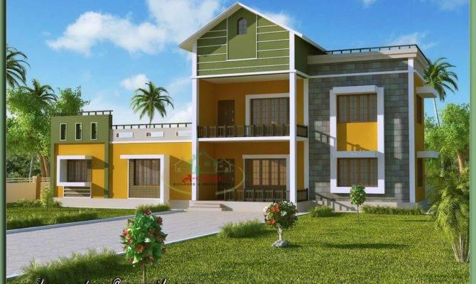 Kerala House Model Sloping Roof Elevation
