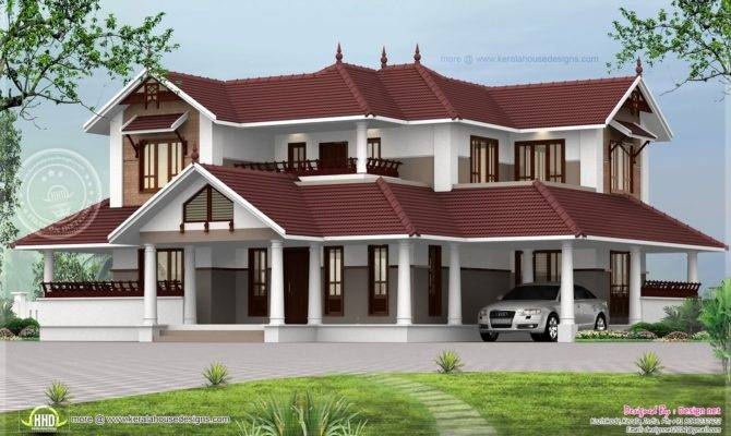 Kerala Style Sloping Roof Home Exterior House Design Plans