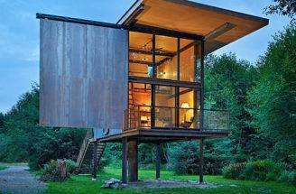Kundig Architects Prefab Sol Duc Cabin Rests Lightly Four Stilts
