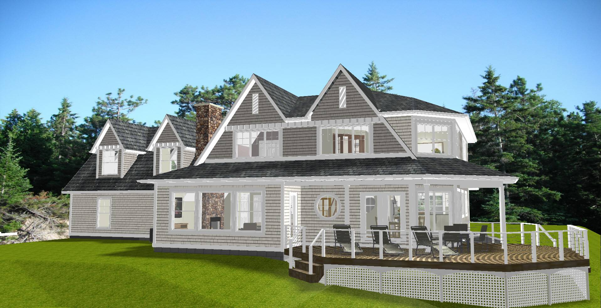 Lake Huron New England Style House Home Building Plans