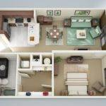 Living Space Gives Comfortable Cozy One Bedroom Personality