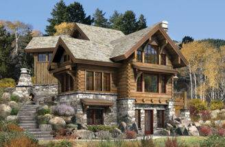 Log Cabin Homes Ranch Style House Floor Plans Living Room Corner