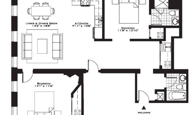Luxury Two Bedroom Apartment Floor Plans Plan North