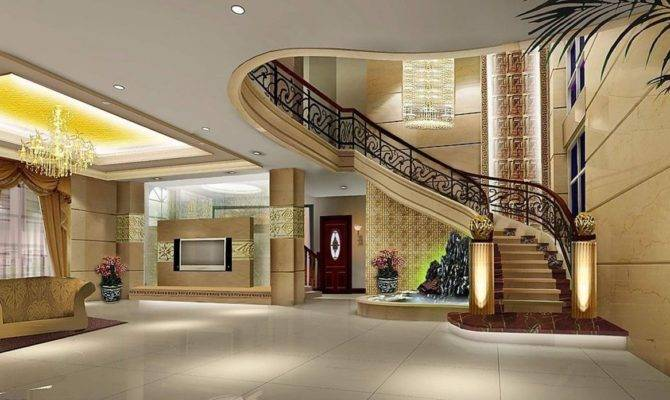 Luxury Villa Stairwell Design Rendering Interior