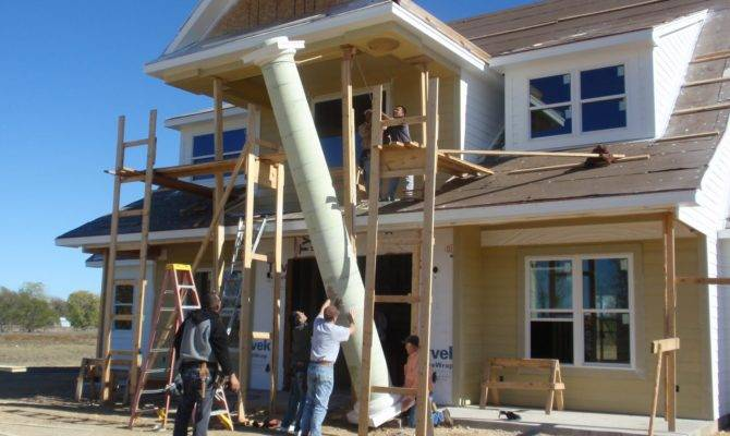 Macey House Project Columns Roof Front Entrance