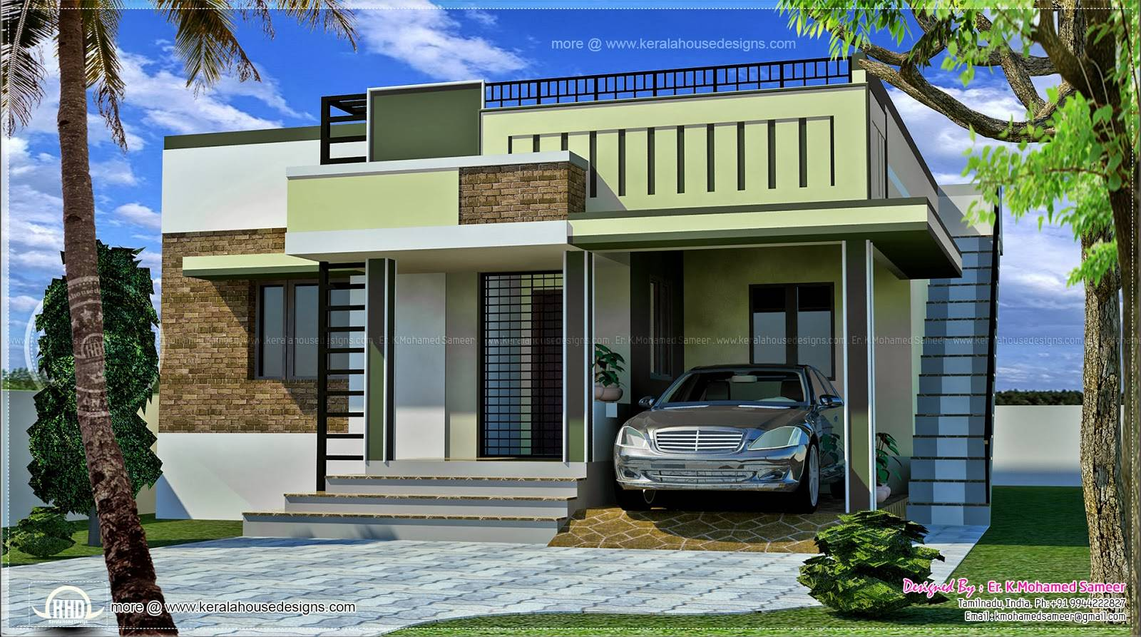 Meter small single floor home kerala design plans
