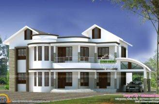 Mixed Roof Modern Home Kerala Design Floor Plans