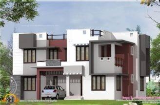 Modern Flat Roof Home Exterior Kerala Design Floor Plans