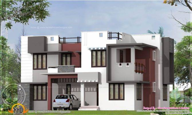 Modern Flat Roof Home Exterior Kerala Design Floor Plans