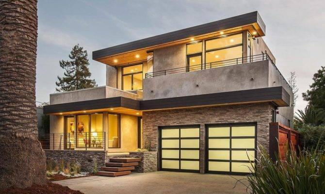 Modern Front Facade Contemporary Style Home Burlingame