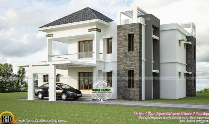 Modern Sloped Roof Villa Exterior Kerala Home Design Floor Plans