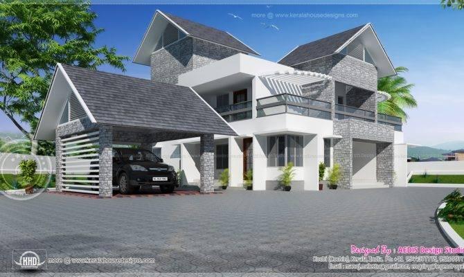 Modern Sloping Roof Luxury House Kerala Home Design Floor Plans