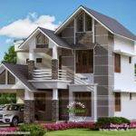 Modern Sober Coloured Sloping Roof House Kerala Home Design