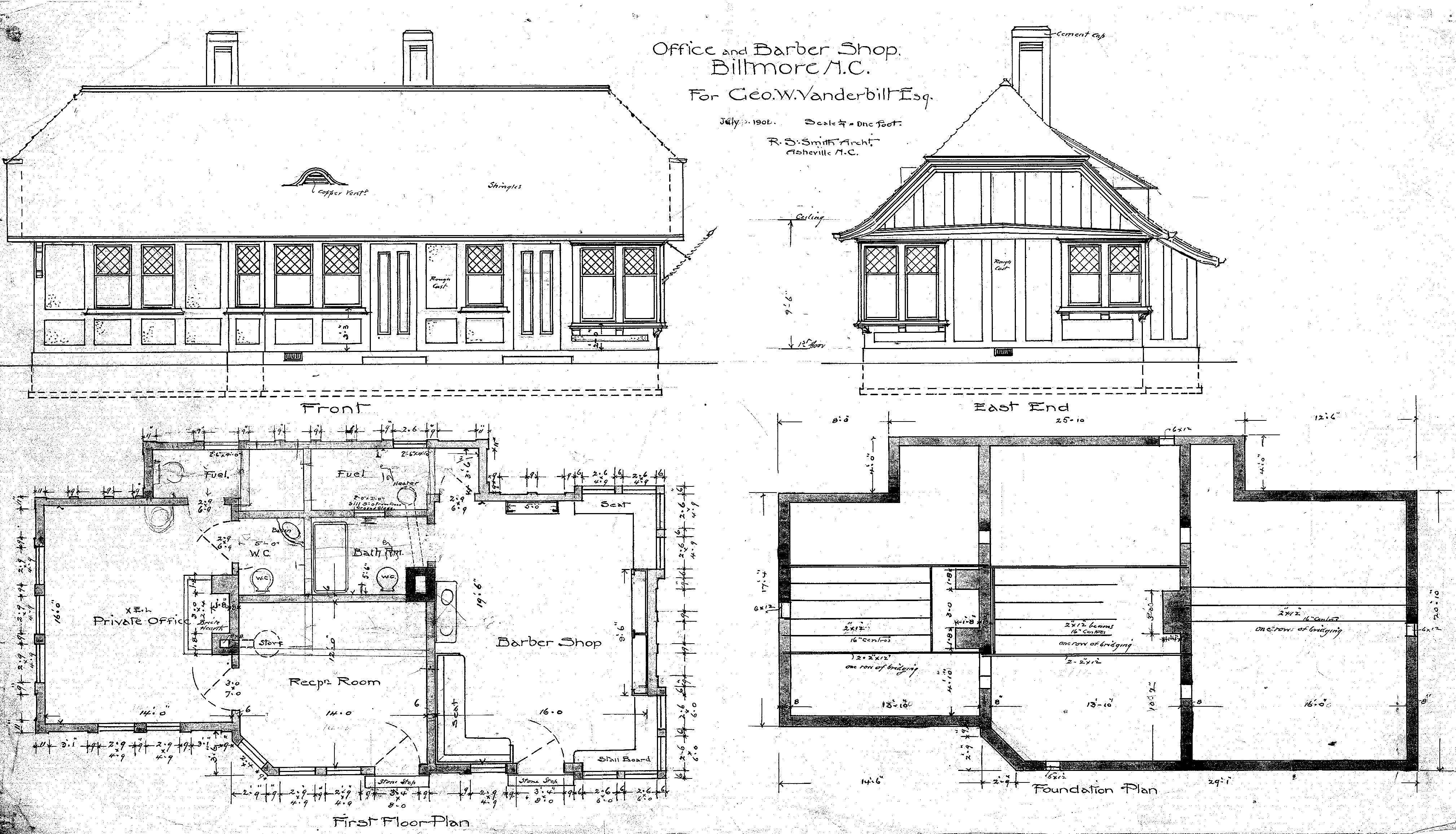 Office barber shop elevations floor plans biltmore village for Simple village home designs