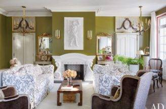 Olive Walls Living Room Southern Style New Orleans Louisiana