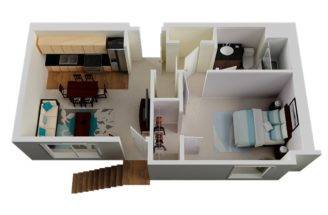 One Bedroom Bathroom Two Large Closets Combined Living