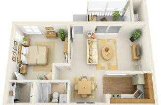 One Bedroom Floor Plan Shows Off Modern Design Elements Like