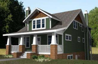 One Story Craftsman House Plans Front Elevation Plan