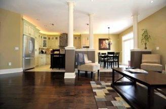 Open Concept Maple Kitchen Walkout Deck Ceilings