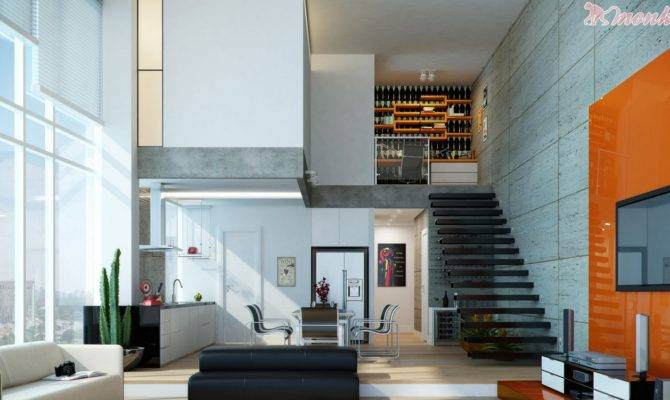 Orange White Open Plan Living Area Design Olpos